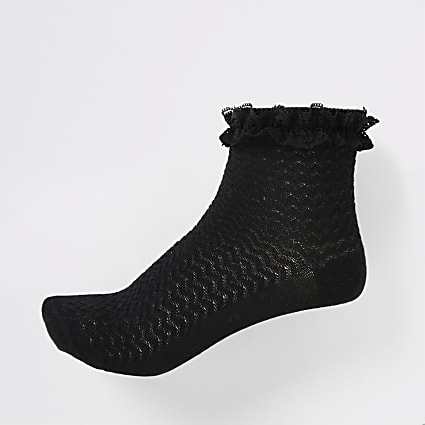 Girls black lace socks 2 pack