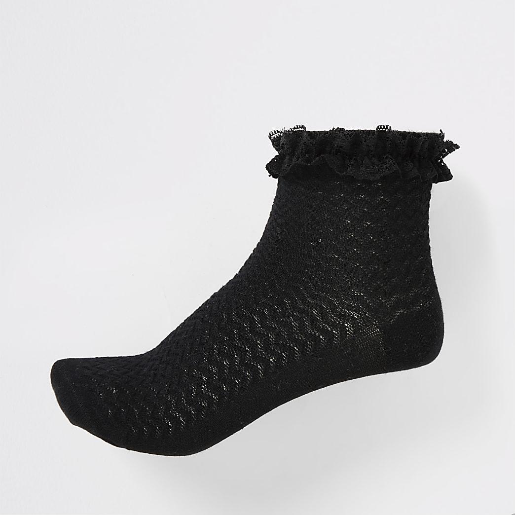 Girls black lace socks 2 pack