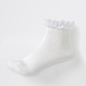 Girls white lace trim socks multipack
