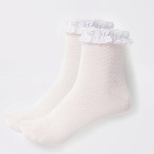 Roze kanten sokken voor meisjes set van2