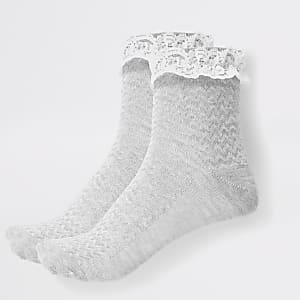 Lot de2 chaussettes grises en dentelle pour fille