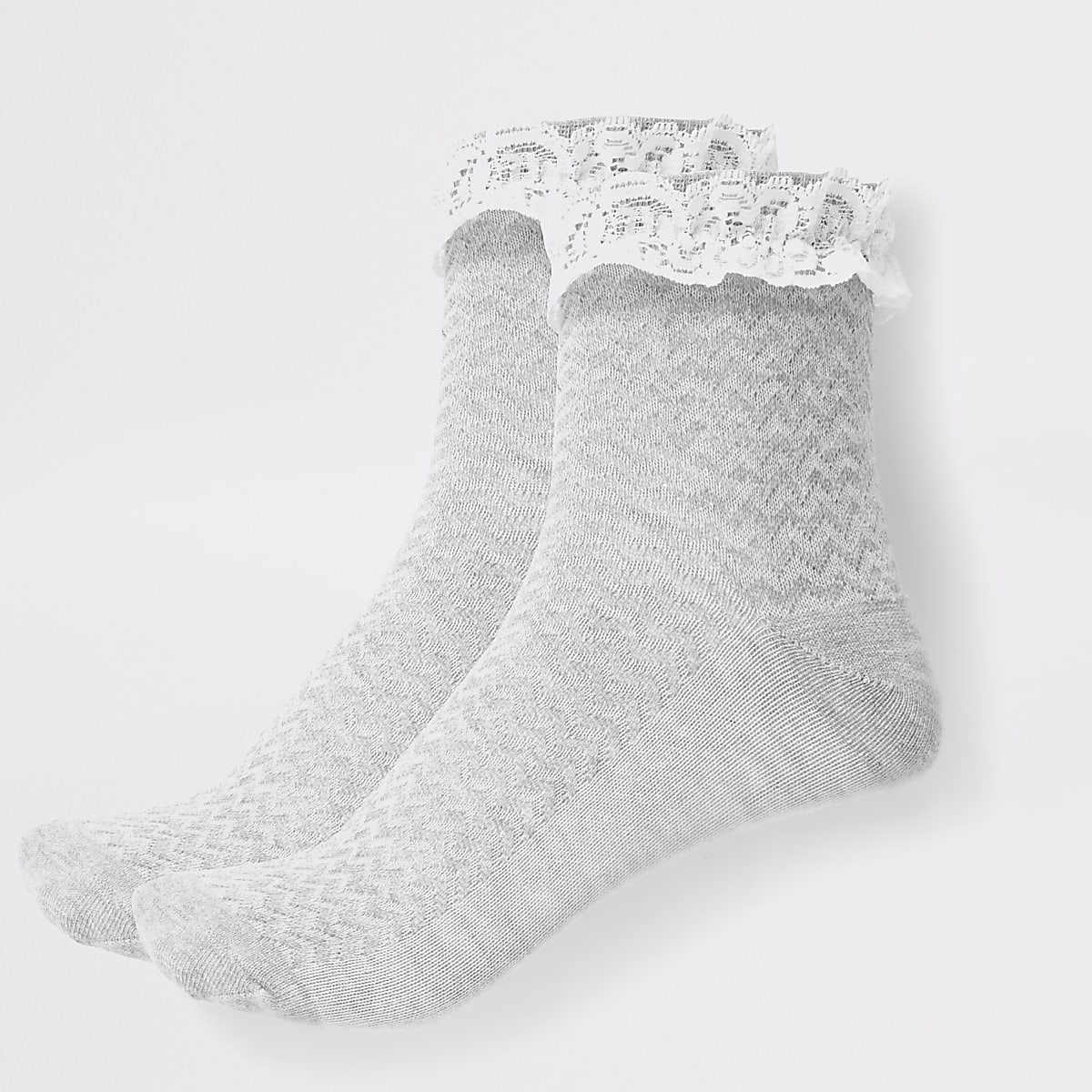 Girls grey lace socks multipack