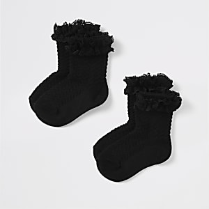 Mini girls black lace socks multipack