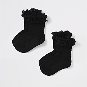 Mini - Zwarte kanten sokken voor meisjes set van2