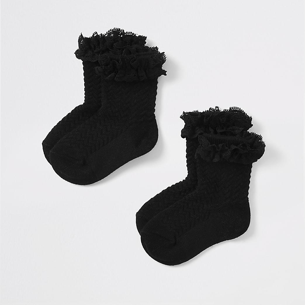 Mini girls black lace socks 2 pack