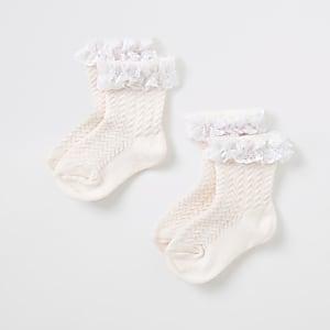 Mini – Socken in Rosa mit Spitze für Mädchen, 2er-Set