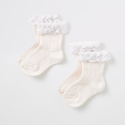 Mini girls pink lace socks 2 pack