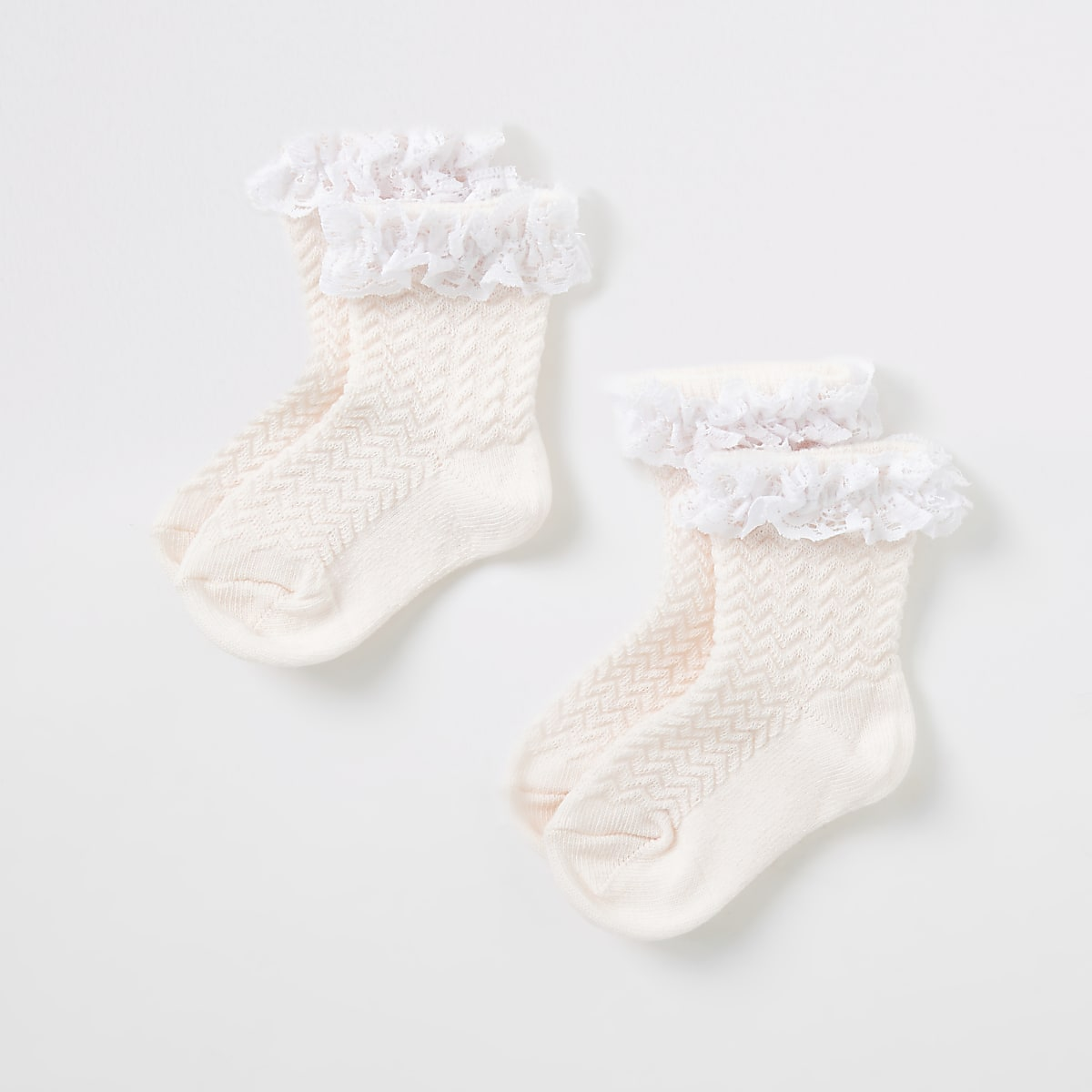 Mini girls pink lace socks