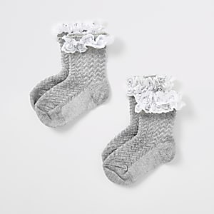 Mini girls grey lace socks multipack