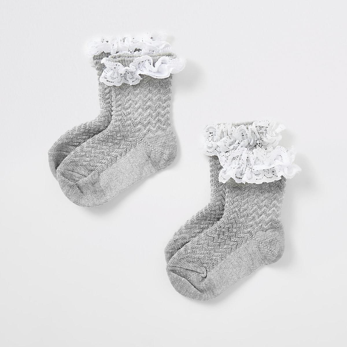 Mini - Grijze kanten sokken voor meisjes set van2