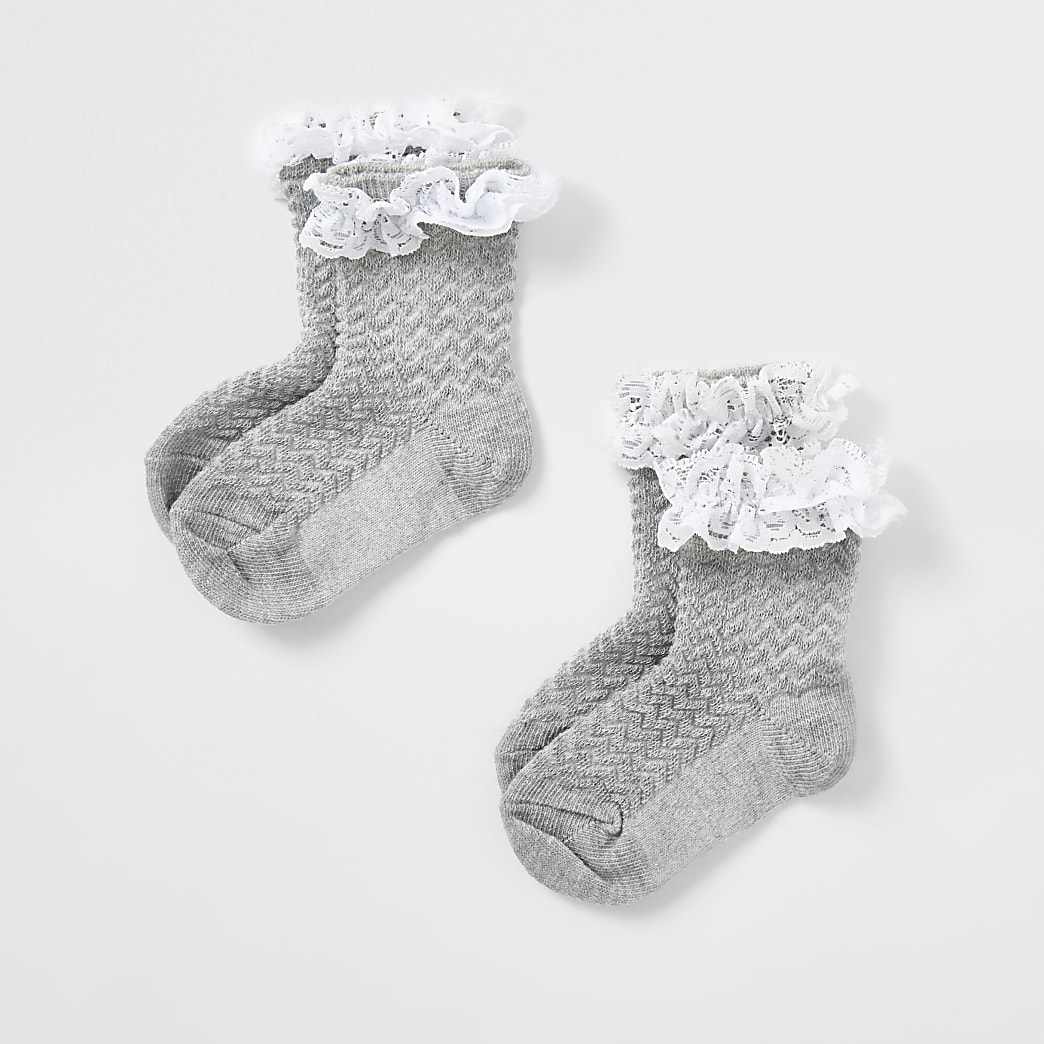 Mini girls grey lace socks 2 pack