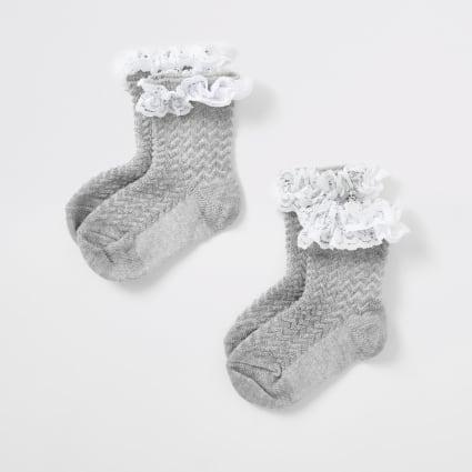 Mini girls grey lace socks multipack