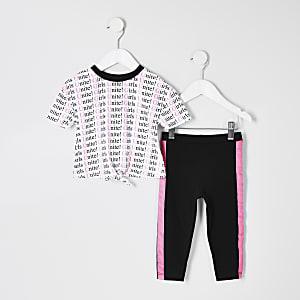 Mini – Weißes T-Shirt-Outfit mit Neonprint für Mädchen