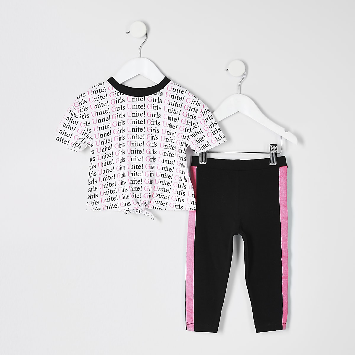 Mini girls white neon printed T-shirt outfit
