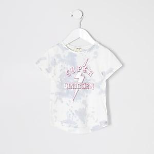 Mini - T-shirt met 'super unicorn'-print voor meisjes