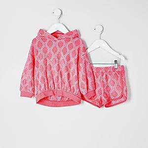 Mini - Outfit met roze badstoffen short met RI-logo voor meisjes