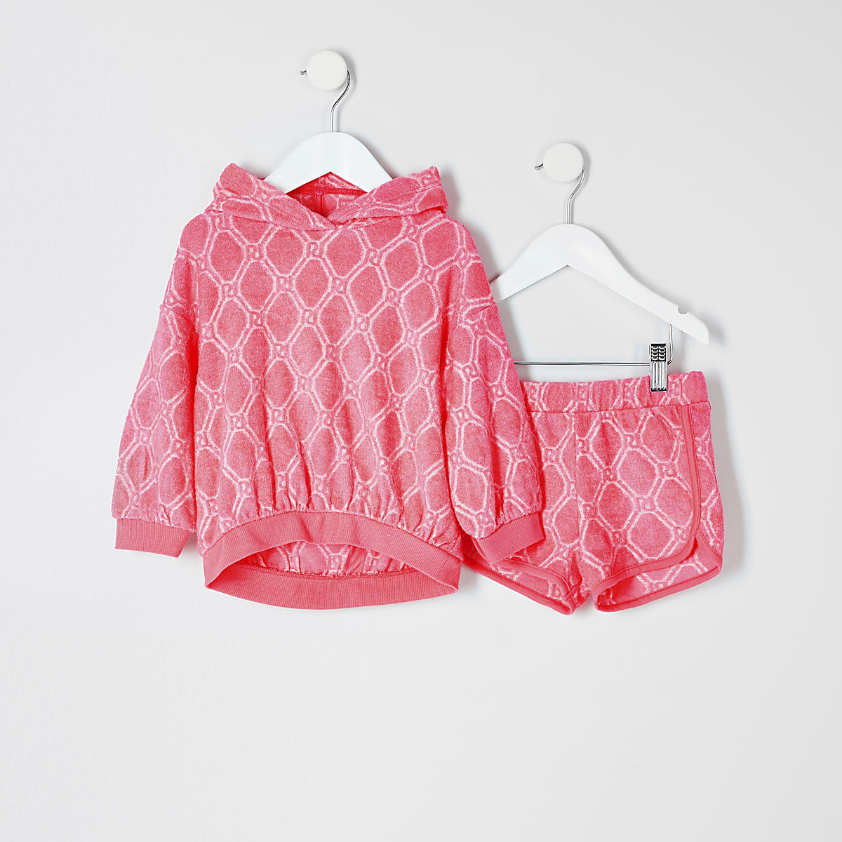 Mini grls pink RI towelling short outfit