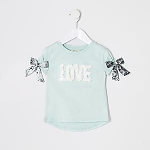 Mini girls green 'Love' embellished T-shirt