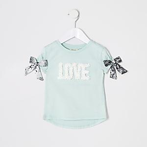 Mini - Groen verfraaid T-shirt met 'Love'-print voor meisjes
