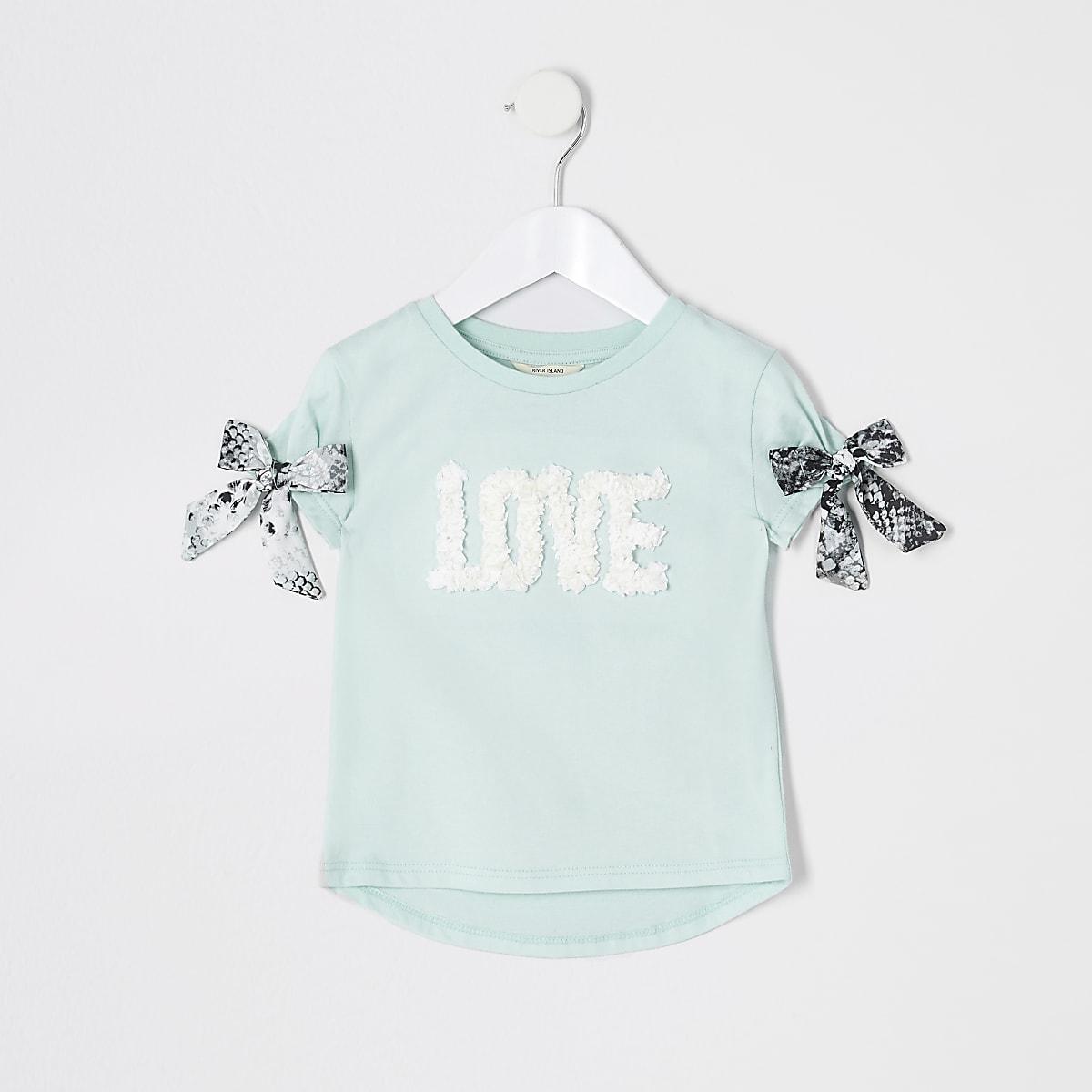 Mini girls green 'Love' embellished T-shirt