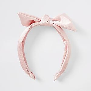 Serre-tête rose avec nœud pour fille