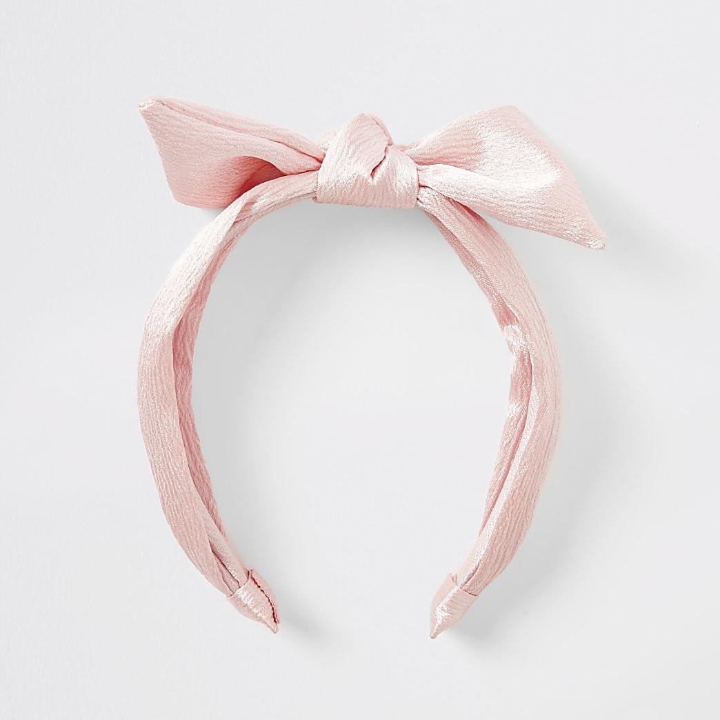 Roze hoofdband met strik voor meisjes
