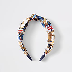 Girls white baroque knot front head band