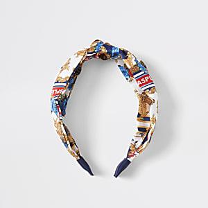 Witte hoofdband met barokke knoop in de voorkant voor meisjes