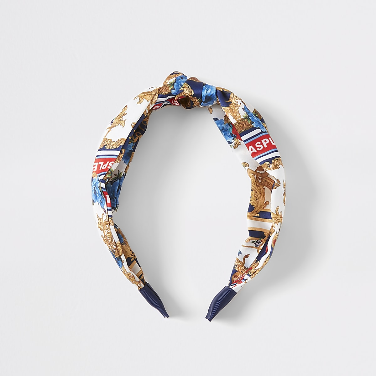 Girls white baroque knot front headband