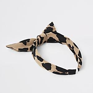 Serre-tête imprimé léopard marron pour fille