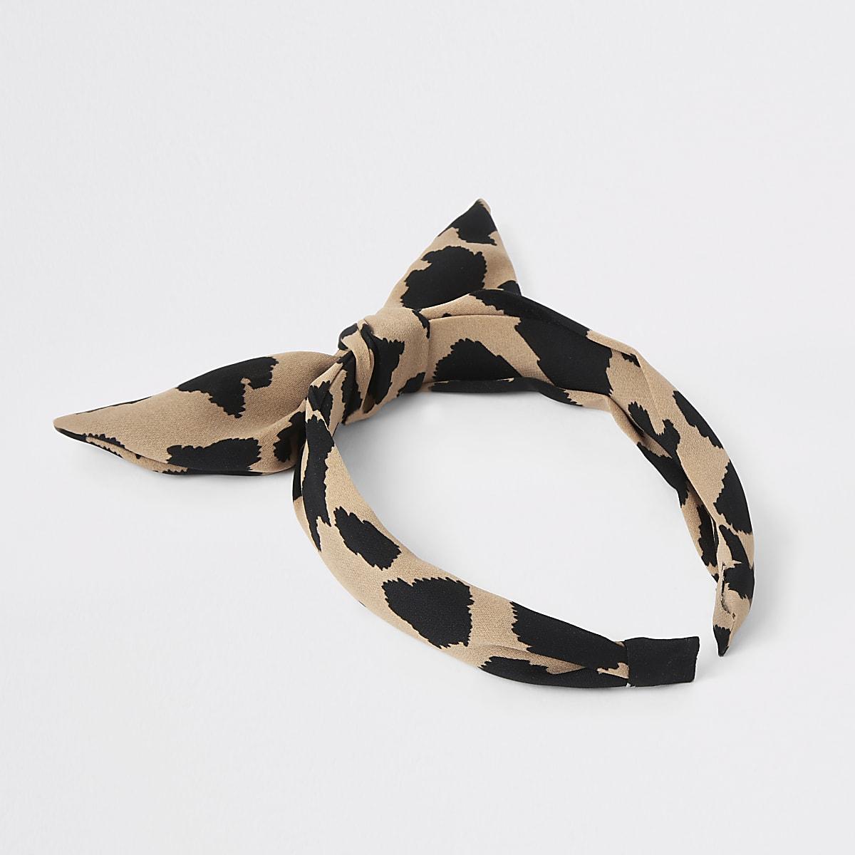 Girls brown leopard print headband