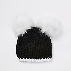 Schwarze Beanie-Mütze mit zwei Pommeln für Mädchen