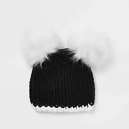Girls black mono double pom pom beanie