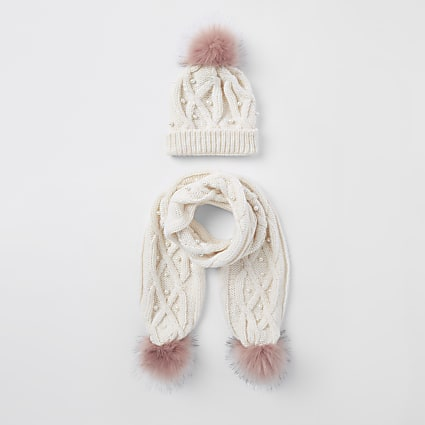 Girls cream pink faux pom pom beanie set