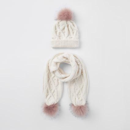 Girls cream pink faux pom pom beanie set
