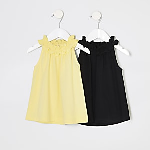 Mini girls yellow trapeze top multipack