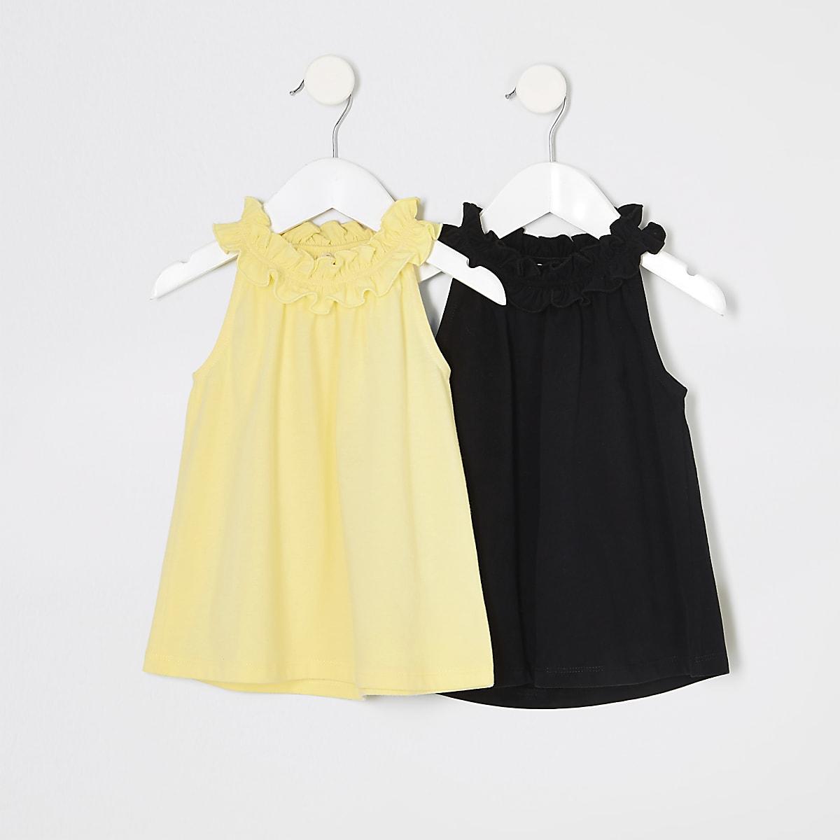 Mini girls yellow trapeze top multipack