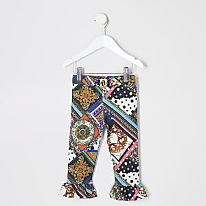 Mini girls black multi print leggings