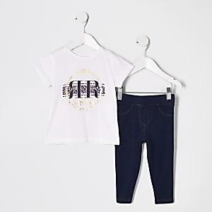 Mini - Outfit met wit T-shirt met folieprint voor meisjes