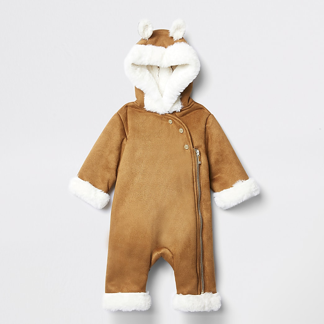Baby brown faux fur hooded snowsuit