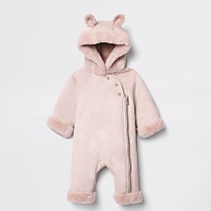 Roze onesie van imitatiebont met capuchon voor baby's