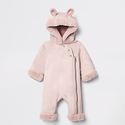 Baby pink faux fur hooded snowsuit