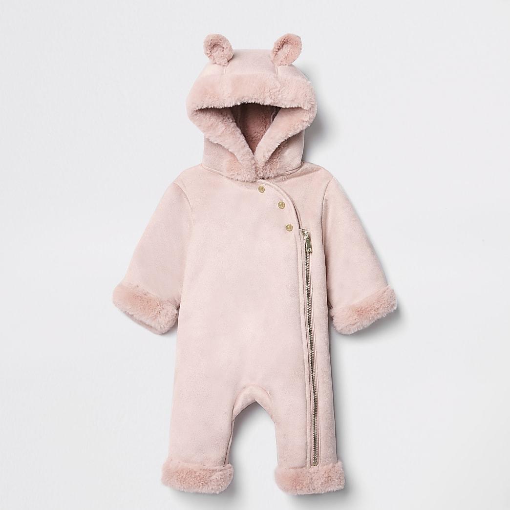 Roze sneeuwpak met capuchon van imitatiebont voor baby's
