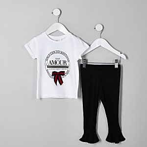 Mini girls white 'amour' T-shirt outfit