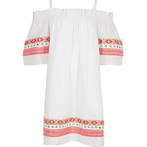 Robe trapèze blanche à broderies fluo pour fille