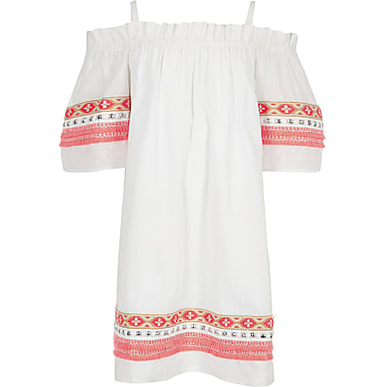 Girls white neon embroidered trapeze dress