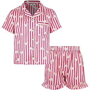 Girls pink satin printed pyjama 2 piece set