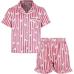Roze satijnen 2-delige pyjamaset met print voor meisjes