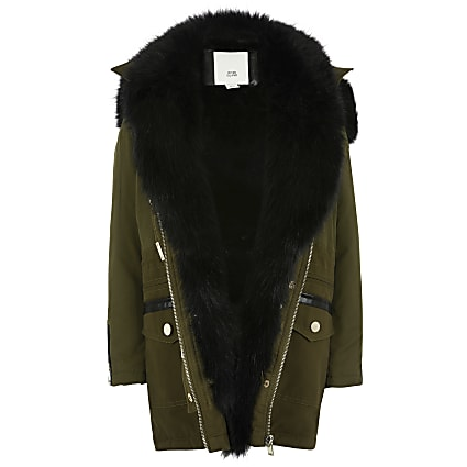 Girls khaki faux fur trim parka jacket