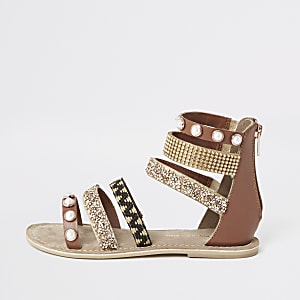 Girls brown embellished multi strap sandal